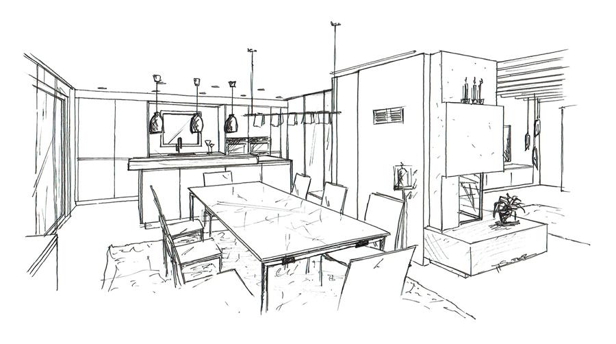 Martina Brühwiler Sutter Raum und Design - Skizze Küche und Essbereich für Umbaukonzept Einfamilienhaus