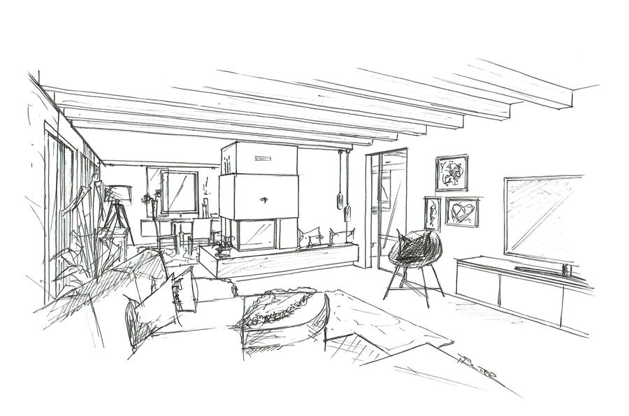 Martina Brühwiler Sutter Raum und Design - Wohnzimmer Skizze für Umbaukonzept Einfamilienhaus