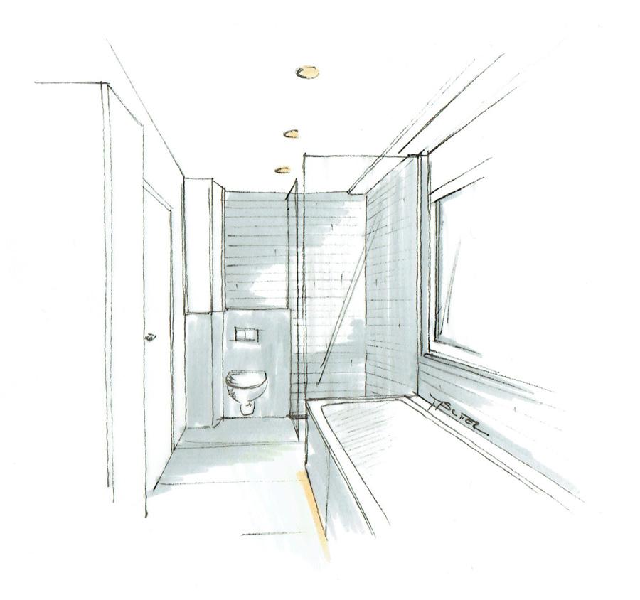 Martina Brühwiler Sutter Raum und Design - Skizze Dusche WC und Badewanne für Umbaukonzept Badumbau