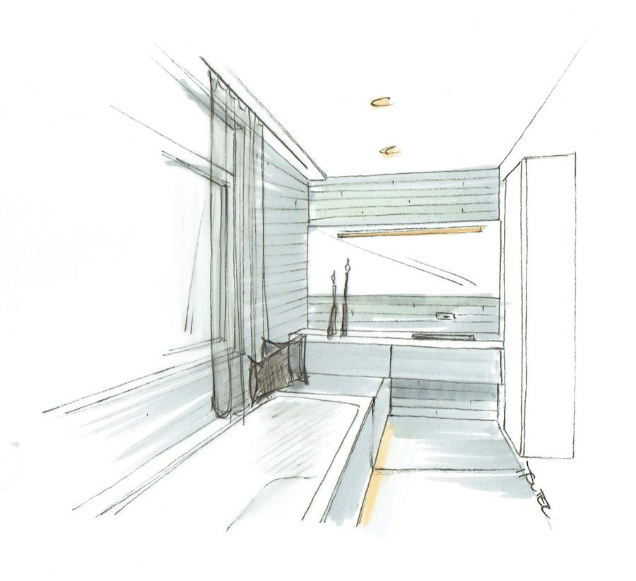 Martina Brühwiler Sutter Raum und Design - Skizze Badmöbel und Badewanne für Umbaukonzept Badumbau