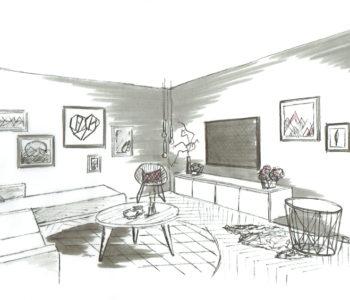 Martina Brühwiler Sutter Raum und Design - Einrichtungskonzept Skizze Wohnzimmer mit Dekoration und Bildern