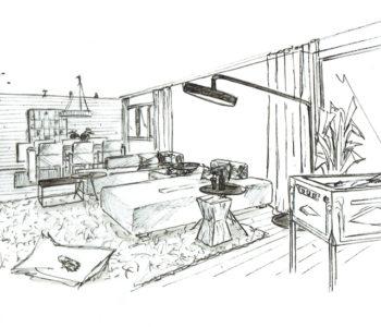 Martina Brühwiler Sutter Raum und Design - Einrichtungskonzept Skizze Wohnzimmer mit Möblierung