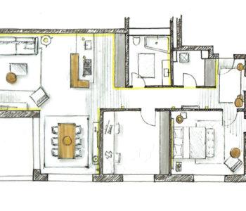 Martina Brühwiler Sutter Raum und Design - Einrichtungskonzept Grundriss mit Beleuchtung