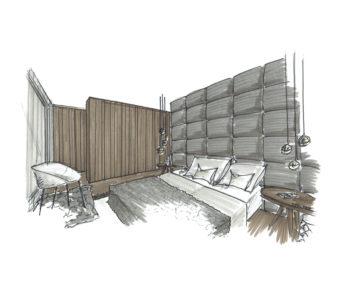 Martina Brühwiler Sutter Raum und Design - Gestaltungskonzept mit Materialisierung und Farbkonzept - Skizze Schlafzimmer