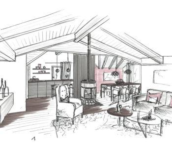 Martina Brühwiler Sutter Raum und Design - Umbaukonzept Wohnung, Skizze Wohn-Essbereich und Küche