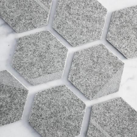 Filzuntersetzer silber Hexagon 6-eck grau