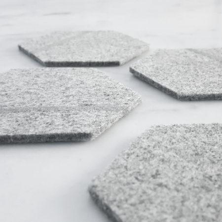 Untersetzer Hexagon filz grau mit silber